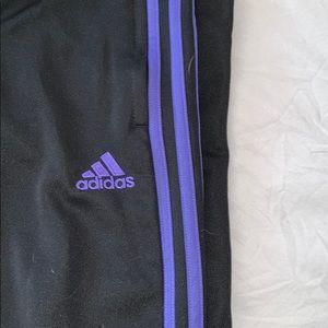 Purple full length adidas track pants